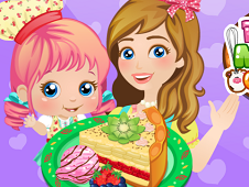 Baby Alice and Mom Cooking Pie