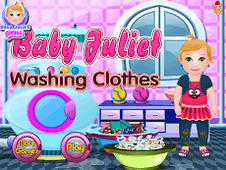 Baby Juliet Washing Clothes