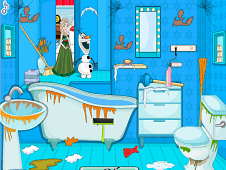 Frozen Elsa Winter Bathroom Cleaning