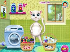 Pregnant Angela Washing Clothes