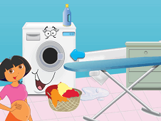 Pregnant Dora Ironing Clothes