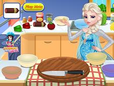 Pregnant Elsa Cooking Pizza