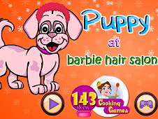 Puppy At Barbie Hair Salon