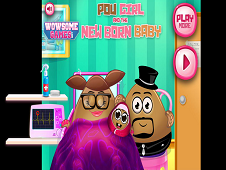 Pou Girl And The Newborn Baby