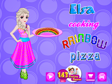 Elsa Cooking Rainbow Pizza