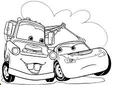 Mater and Lightning McQueen Coloring