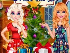 Elsa and Barbie Christmas Eve