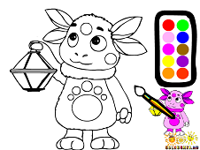 Luntik with a lamp Coloring