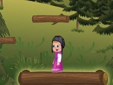 Masha and the Bear Jumping on Logs