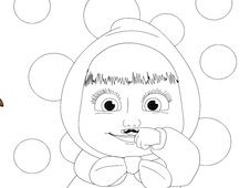 Masha with a Mustache Coloring