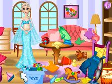 Pregnant Elsa Room Cleaning