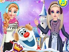 Princesses and Olaf Winter Style